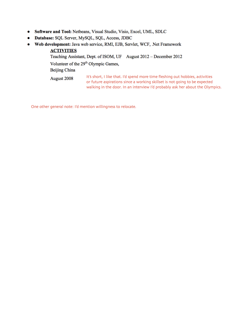 wso investment banking resume template for college