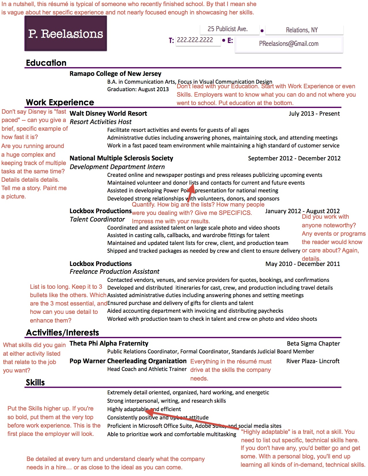 P.Reelasions Resume JPEG  Recent College Graduate Resume
