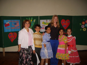"Bri's welcome assembly on her first day of school. The welcome group consisted of her host ""sister"" and co-teacher Ruth as well as a few children who danced the Cueca, the traditional dance of Chile."